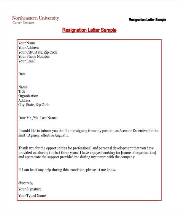 Sample Resignation Letter - 8+ Free Documents in Word, pDF - samples of resignation letters