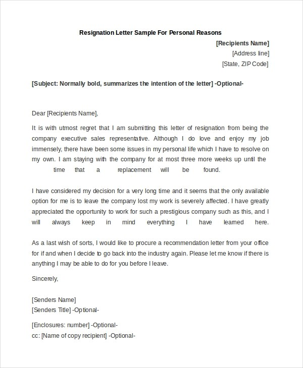 Letter of Resignation Sample - 9+ Free Documents in Doc