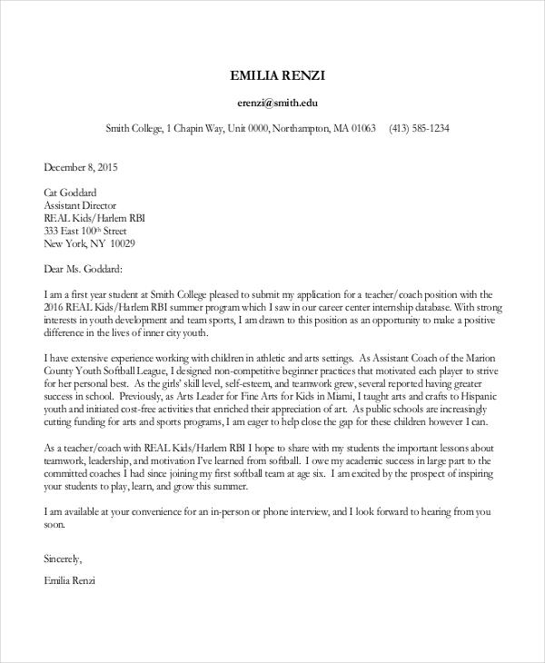 cover letter sample for applying for a job