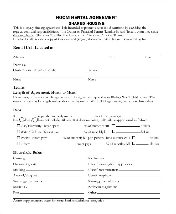 Rental Agreement Form - 11+ Free Documents in word, PDF - Sample Lease Agreement Form
