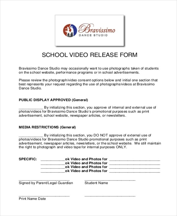 Video Release Forms - sample print release form example