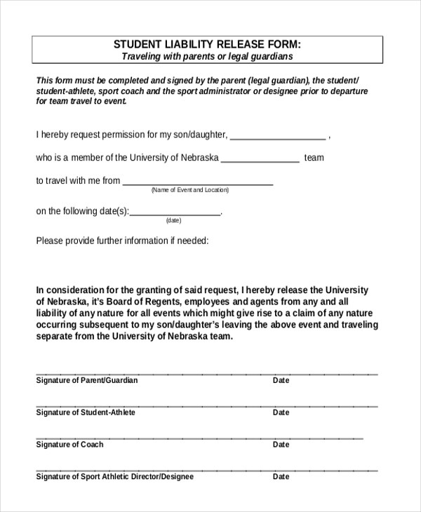 Liability Release Form Release Of Liability Form Liability Release - Sample Liability Release Form