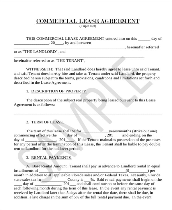 Sample Lease Agreement Form - 11+ Free Documents in Doc, PDF - sample commercial lease agreement
