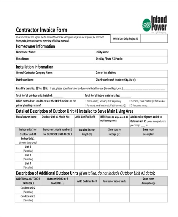Sample Contractor Invoice Form - 8+ Free Documents in word, PDF - Contractor Invoice Form