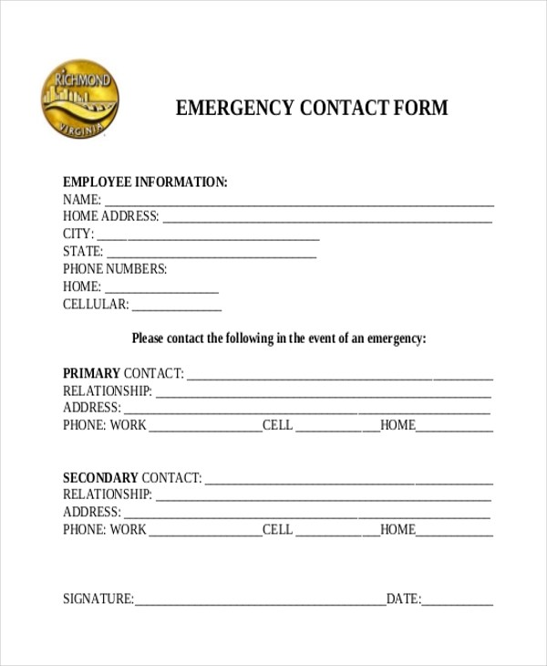 Sample Emergency Contact Form - 11+ Free Documents in word, PDF - contact form template word