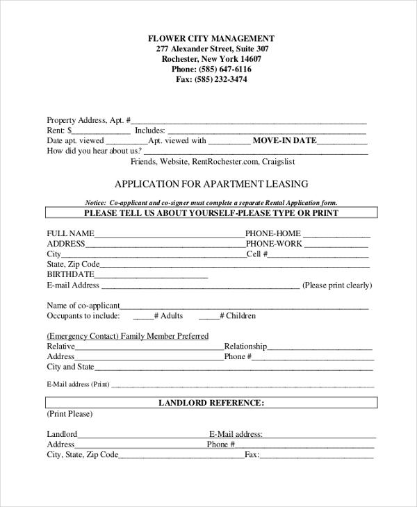 apartment application sample