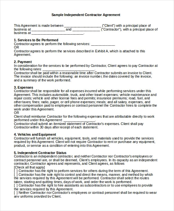 Sample Independent Contractor Agreement Form  Sample Resume