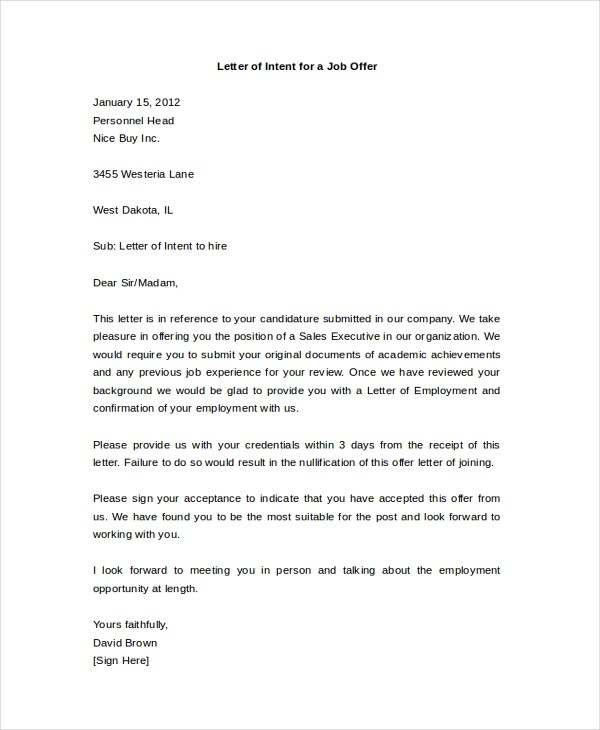 Letter of Intent Sample - 10+ Free Documents in PDF, Doc - letter of intent for employment template
