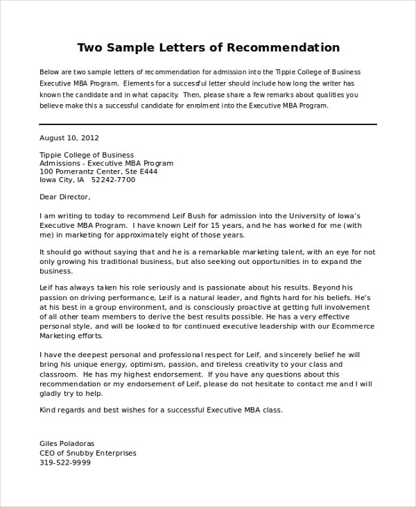 personal letters of recommendations