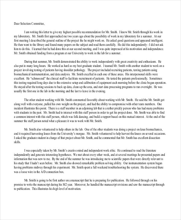 Sample Letter of Recommendation Format - 8+ Free Documents in PDF, Doc