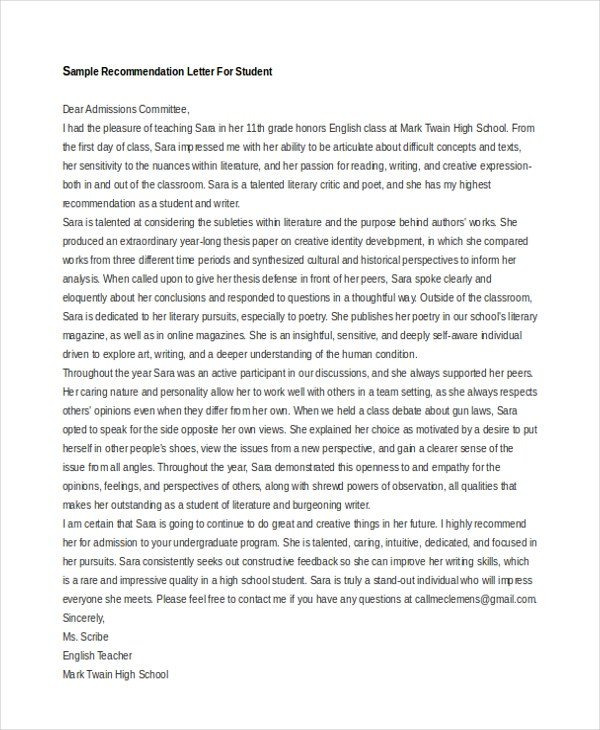 Letter of Recommendation Sample - 10+ Free documents in Word, PDF