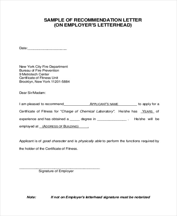 Letter of Recommendation Sample - 9+ Free Documents in PDF - certificate of recommendation sample