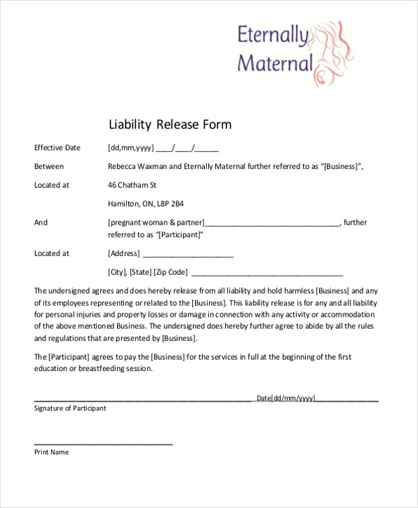 Release Of Liability Sample - Template Examples - free release of liability form