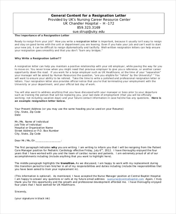 Sample Resignation Letter - 8+ Free Documents in Word, pDF - writing a resignation letter