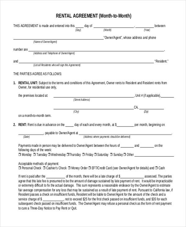 Simple Rental Agreement Form - 12+ Free Documents in PDF