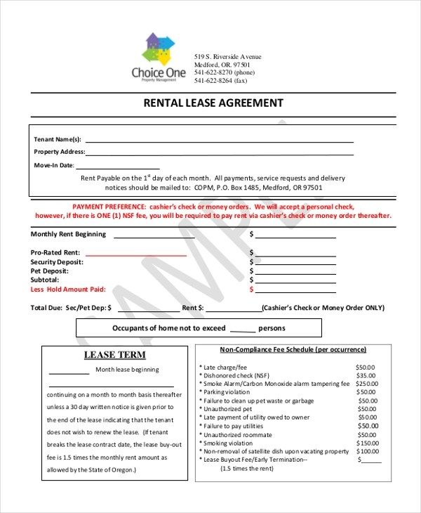 Simple Rental Agreement Form - 12+ Free Documents in PDF - rental contract agreement