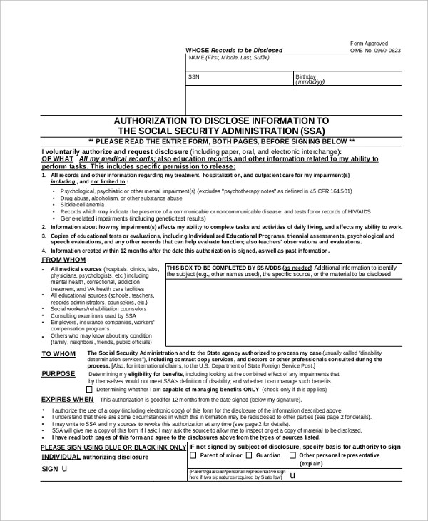 Sample Social Security Disability Form   9+ Free Documents In PDF   Social  Security Administration