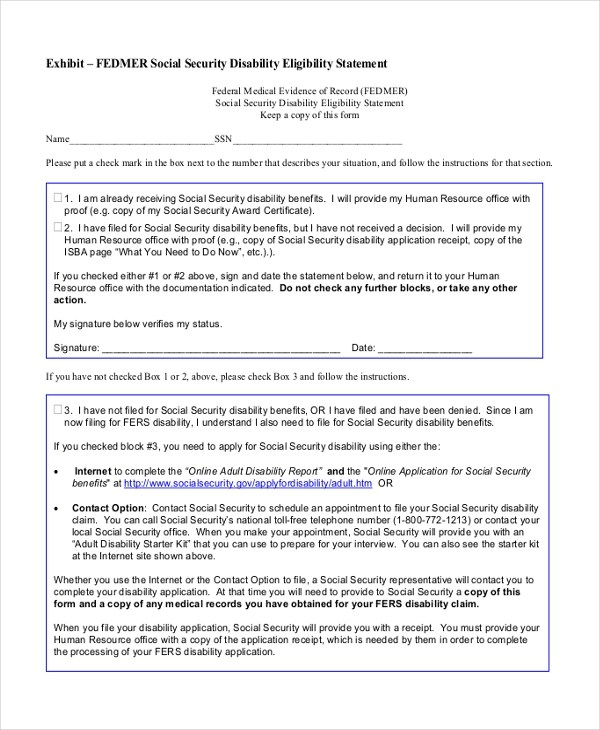 Sample Social Security Disability Form - 9+ Free Documents in PDF