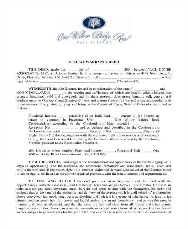 Sample Warranty Deed Form - 11+ Free documents in word, PDF