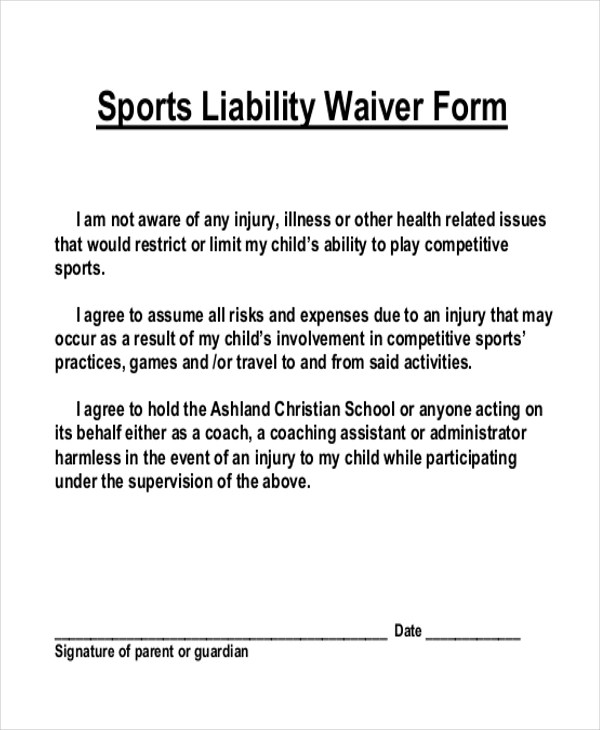Liability Waiver Forms Sample Release Of Liability Form Template - free release of liability form