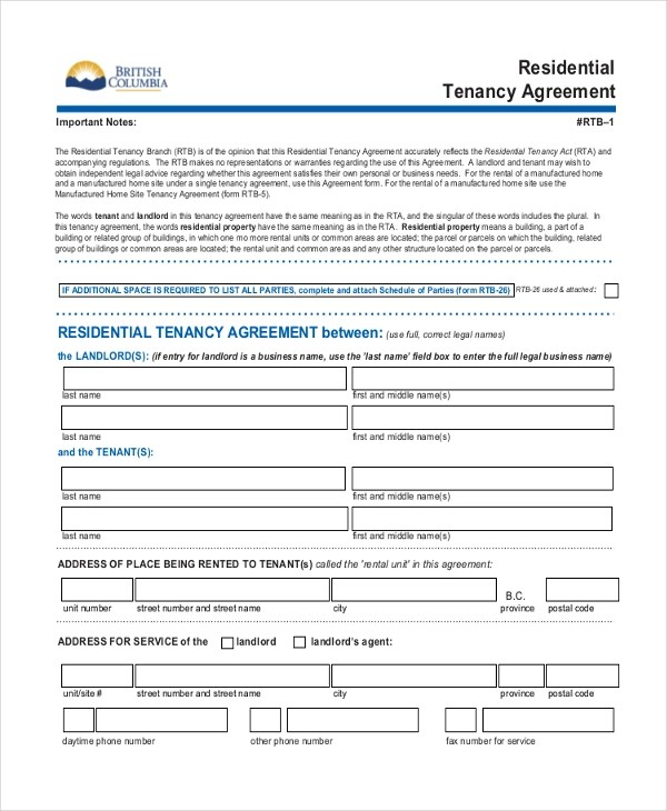Sample Standard Lease Agreement Form - 9+ Free Documents in PDF - standard lease agreement template
