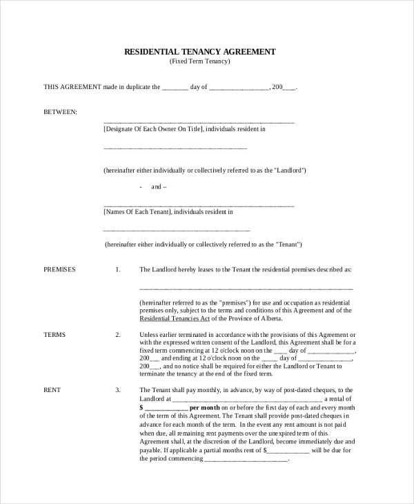 Sample Standard Lease Agreement Form - 9+ Free Documents in PDF