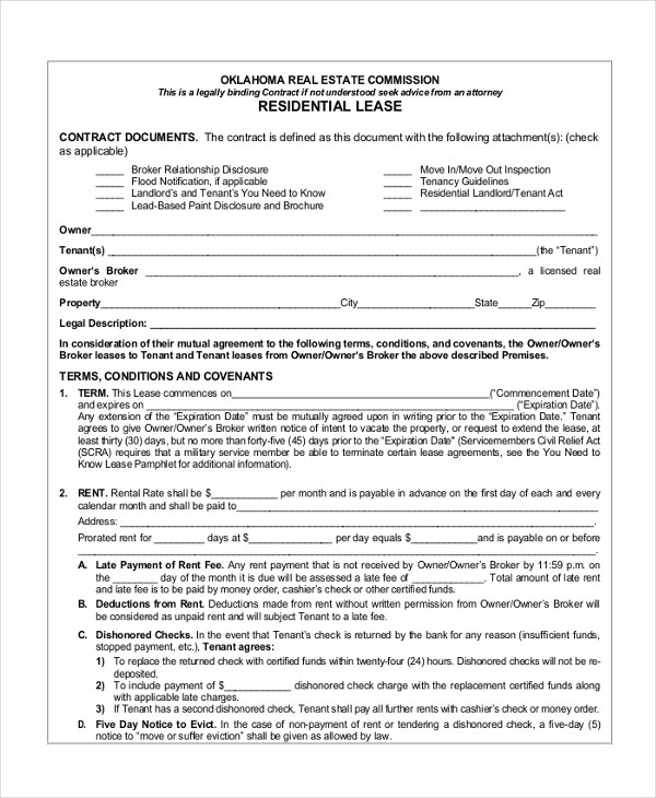 Sample Standard Lease Agreement Form - 9+ Free Documents in PDF - lease agreement