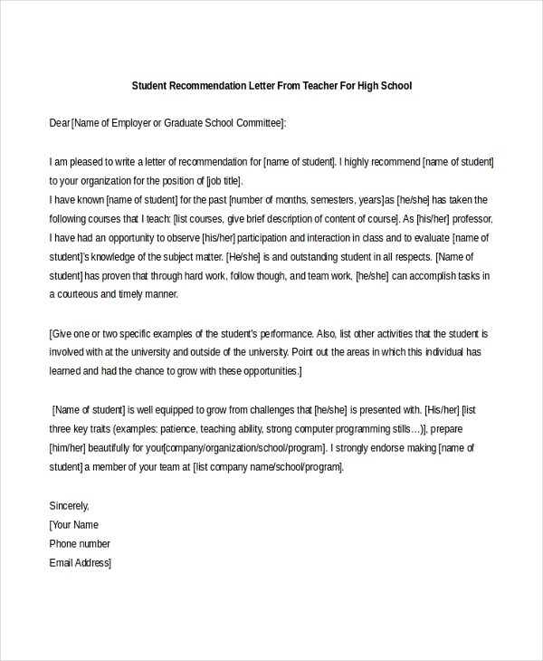 Sample Teacher Recommendation Letter - 8+ Free Documents in PDF, Doc - sample school recommendation letter