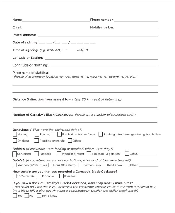 example of survey form - survey form