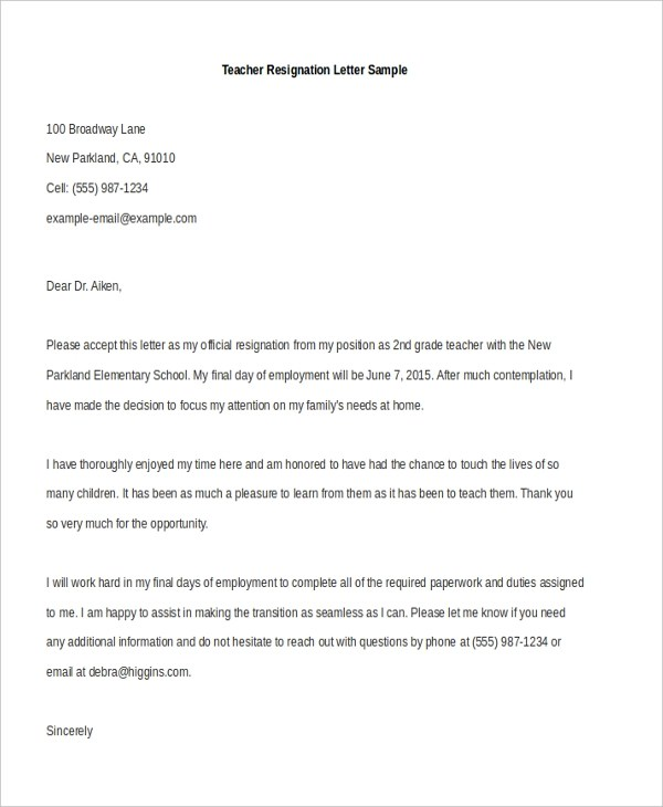Resignation Letter Sample - 8+ Free Documents in Doc - sample teaching resignation letters