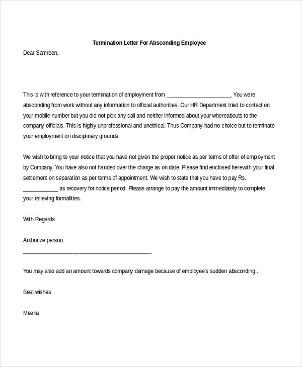 Sample Employee Termination Letter - 8+ Free Documents in PDF - how to write a termination letter to an employee