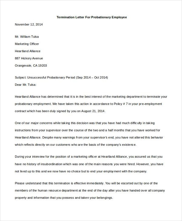 Sample Employee Termination Letter - 8+ Free Documents in PDF - employee termination letter
