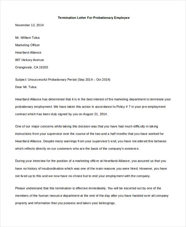 employment separation letter – Employee Separation Letter