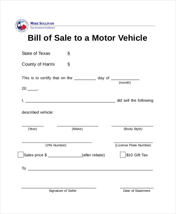 Sample DMV Bill of Sale Forms - 8+ Free Documents in PDF - sample dmv bill of sale