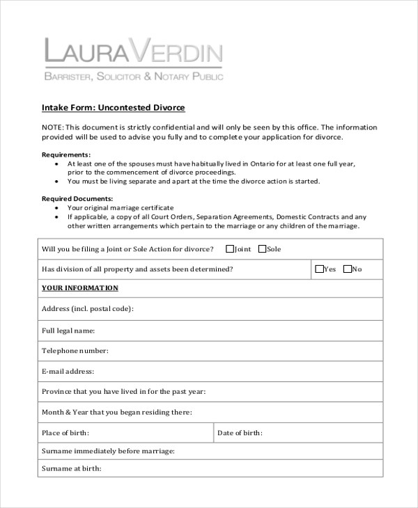 Sample Divorce Form - 16+ Free Documents in PDF