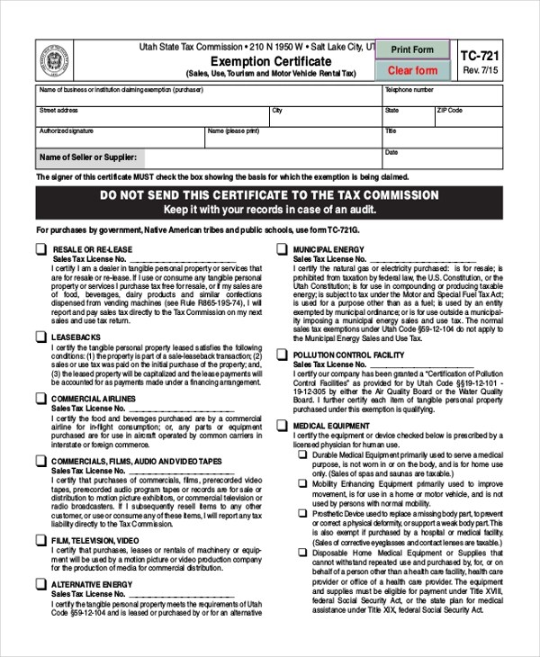 utah sales tax form - Peopledavidjoel - tax exemption form