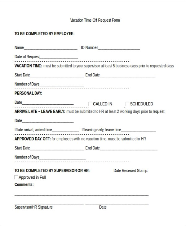 Sample Vacation Request Form - 11+ Free Documents in Doc, PDF - request for time off form