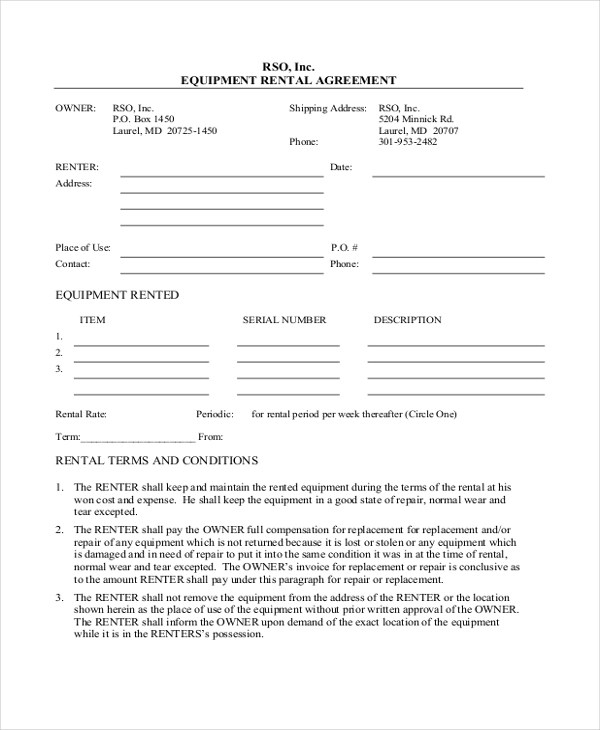 Basic Rental Agreement Simple Room Rental Agreement Form In Pdf 8 - equipment rental agreement sample