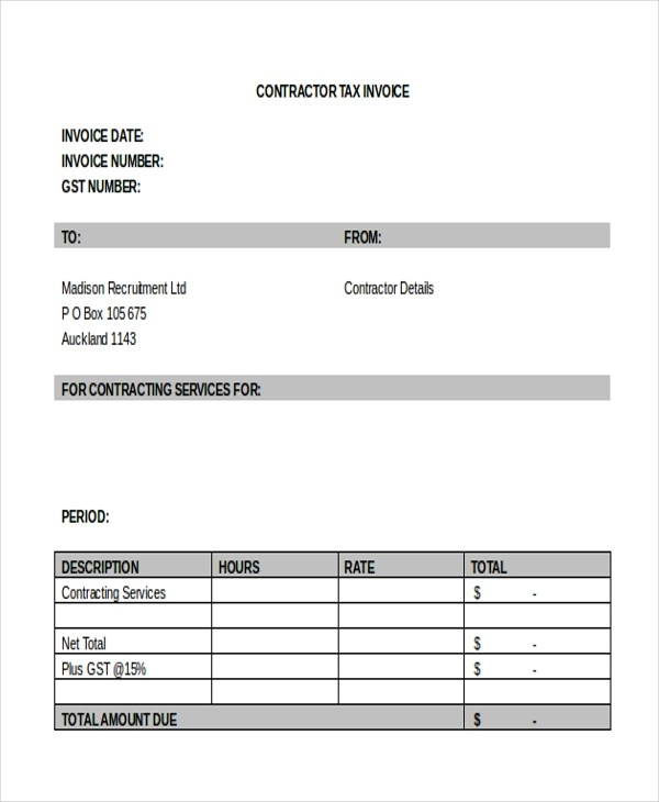 Sample Government Contractor Invoice System For Award Management Sam Sample  Contractor Invoice Form 8 Free Documents