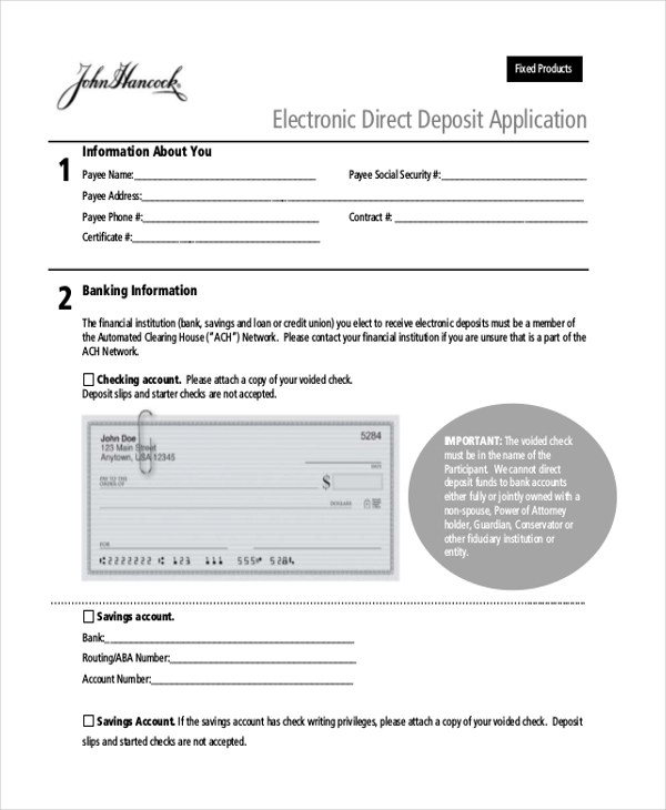 Sample Direct Deposit Forms - 10+ Free Documents in PDF