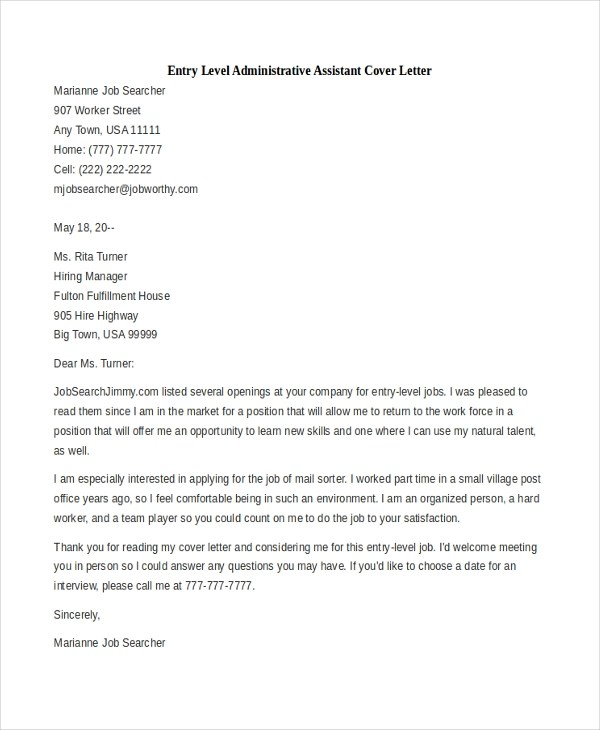 Sample Administrative Assistant Cover Letter - 7+ Free Documents in