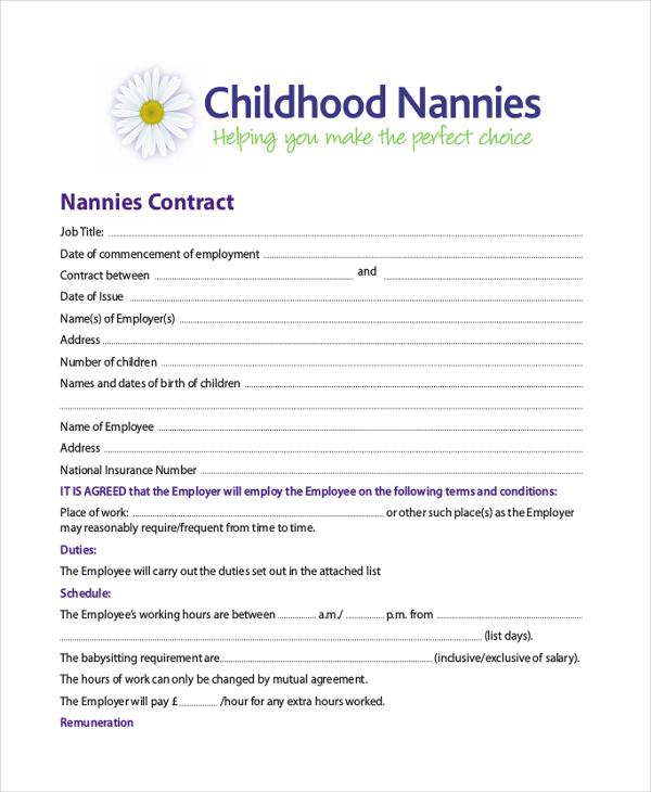 nanny contract example - Ozilalmanoof