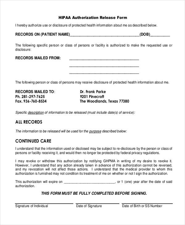 Sample HIPAA Release Forms - 10+ Free Documents in PDF - hipaa release form