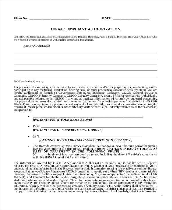 Sample Medical Authorization Form - 10+ Free Documents in PDF - hipaa form