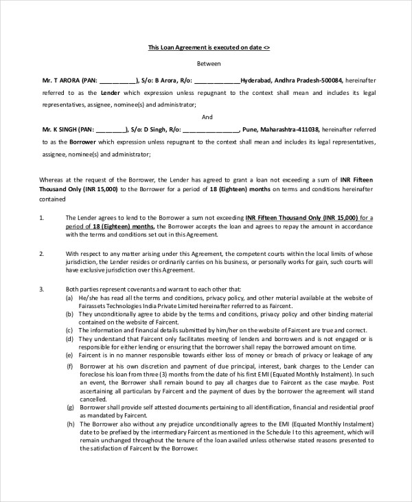 Sample Loan Agreement Form - 9+ Free Documents in PDF - personal loan agreements