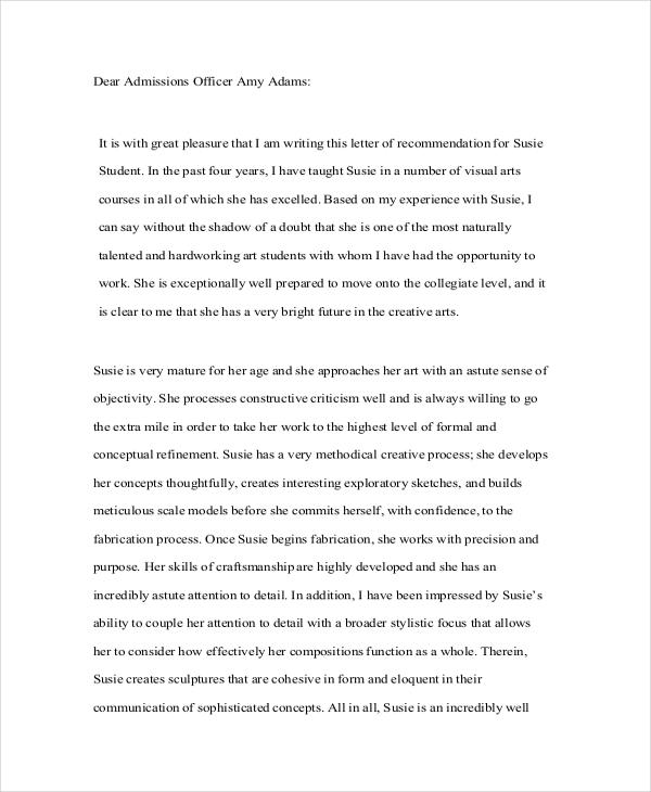 student council recommendation letter