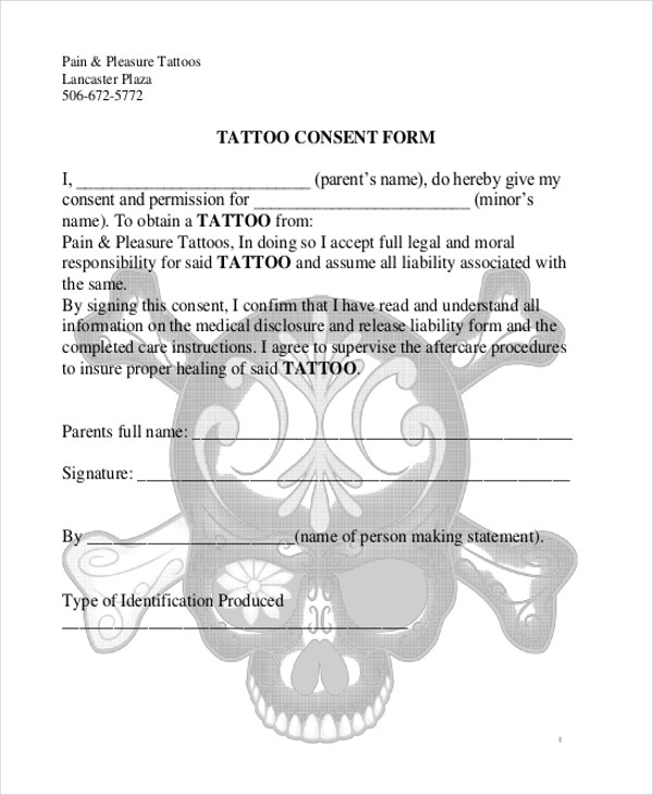11+ Sample Consent Forms Sample Forms - tattoo consent forms