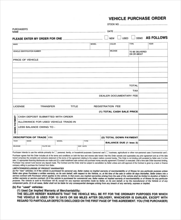 Sample Purchase Order Form - 10+ Free Sample, Example Format