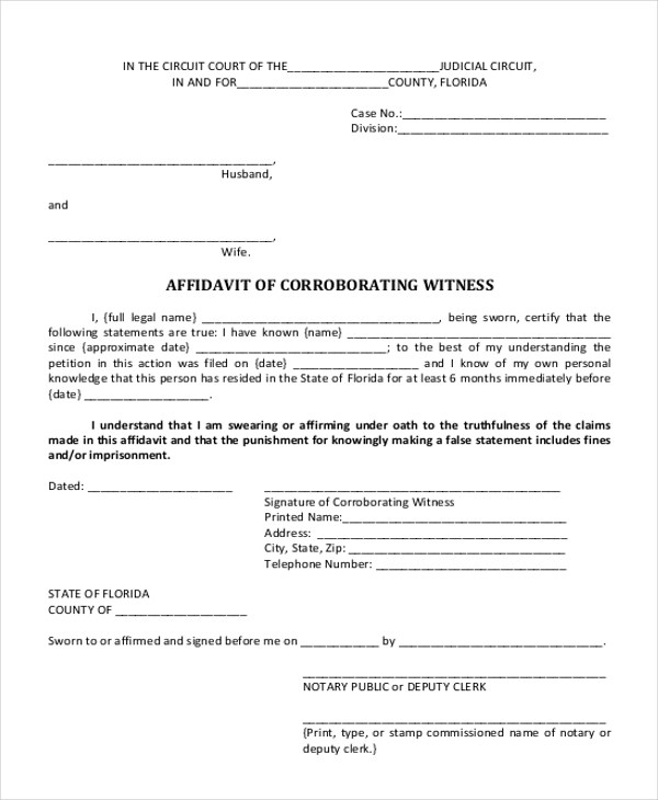 Sample Witness Affidavit Form - 8+ Free Documents in PDF, Doc - how to write a legal affidavit