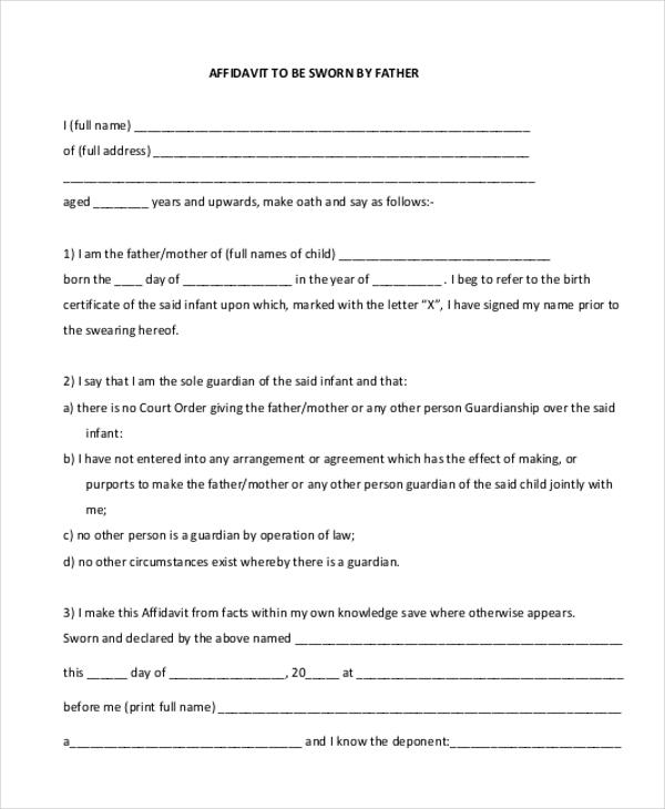 Sample Sworn Affidavit Form - 9+ Free Documents in PDF, Doc - affidavit statement of facts